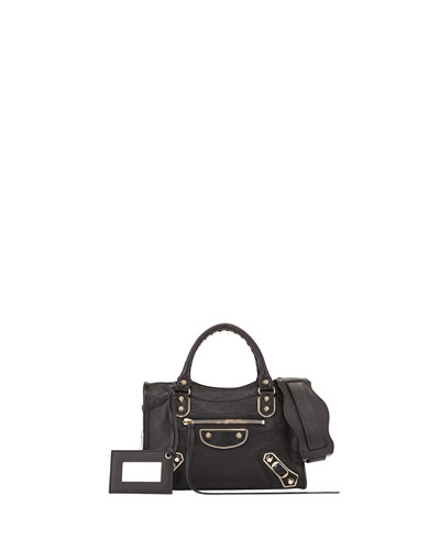 Metallic Edge Classic Mini City Crossbody Bag, Black