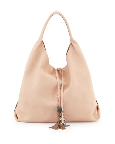 Draped Soft Leather Hobo Bag, Cream