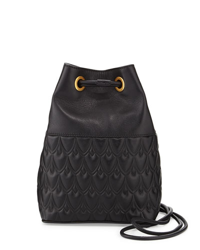 Small Bowery Signature Embossed Bucket Bag, Black