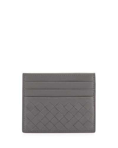 Intrecciato Leather Card Case, New Light Gray