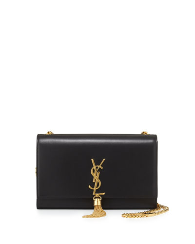 Small Tassel-Detail Flap Shoulder Bag, Black