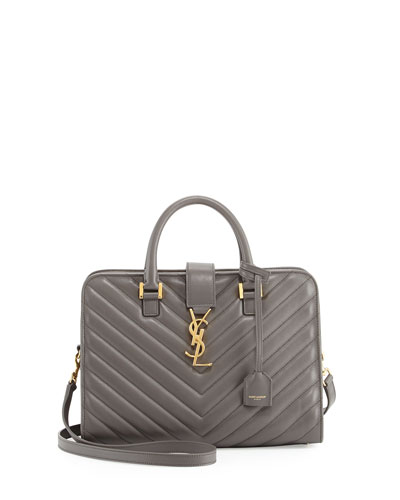 Monogram Small Matelasse Zip-Around Satchel Bag, Earth Gray