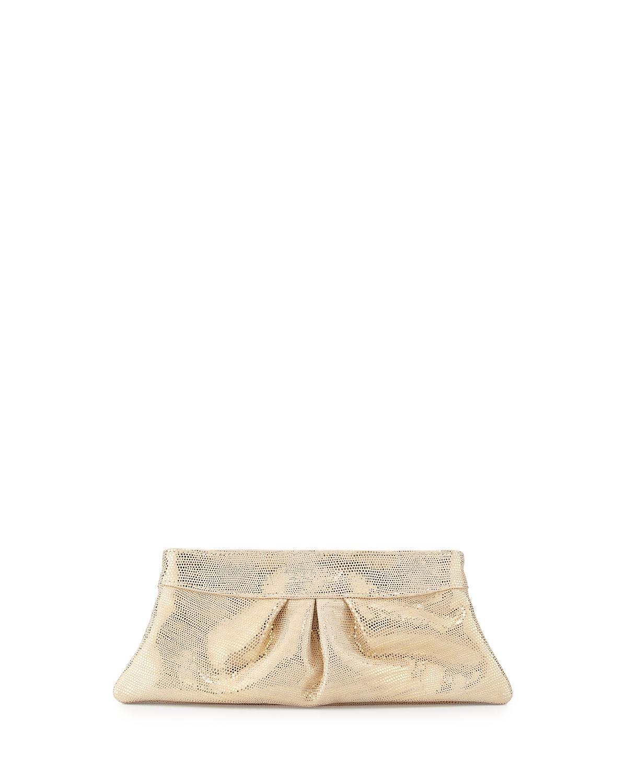 Eve Metallic Snake-Print Clutch Bag, Champagne