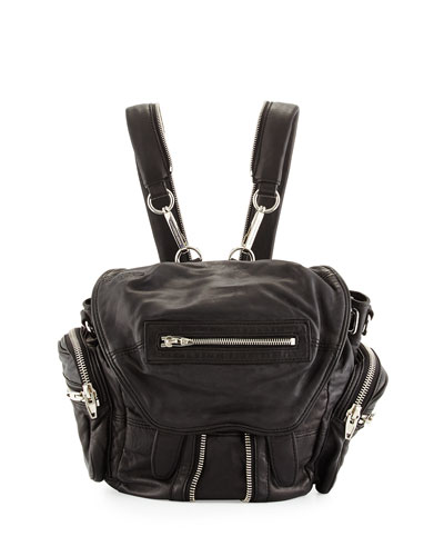 Mini Marti Leather Backpack, Black/Nickel