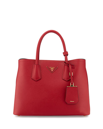 Saffiano Cuir Small Double Bag, Red (Fuoco)