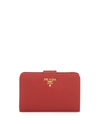 Saffiano Triangle Bi-Fold Tab Wallet, Red (Fuoco)