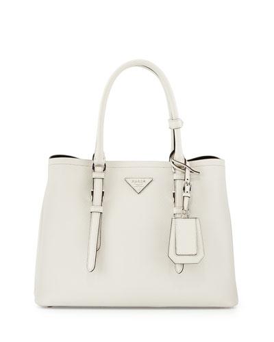 Saffiano Cuir Covered-Strap Double Bag, White (Talco)
