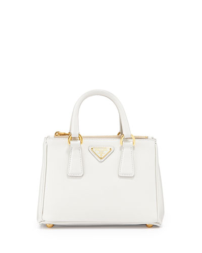 Saffiano Mini Galleria Crossbody Bag, White (Talco)