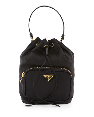 prada tessuto logo embroidered shoulder bag