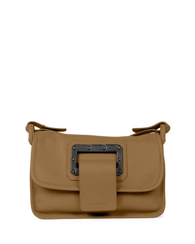 Calfskin Crossbody Bag, Dust/Black