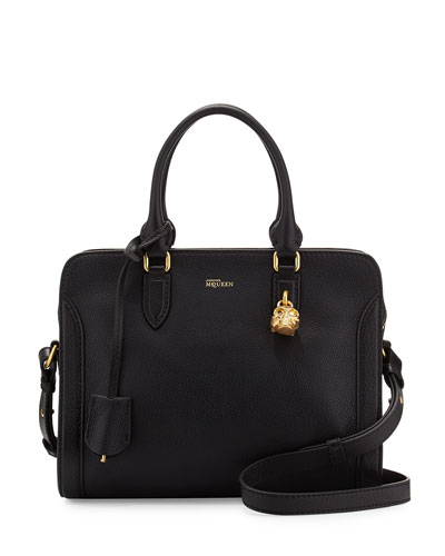 Small Padlock Satchel Bag, Black