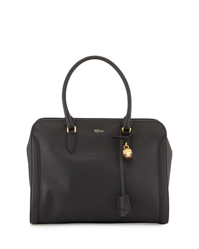 Medium Padlock Satchel Bag, Black