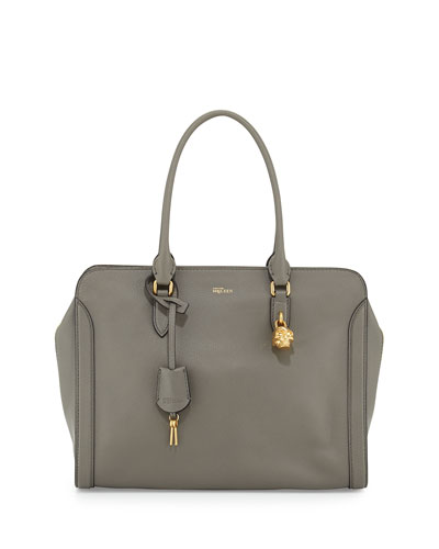 Medium Padlock Satchel Bag, Dark Gray