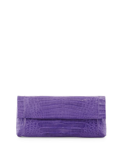 Gotham Crocodile Flap Clutch Bag, Purple