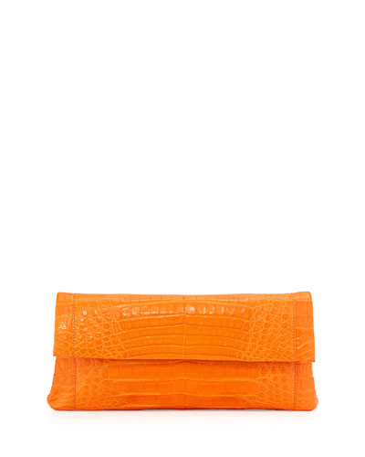 Gotham Crocodile Flap Clutch Bag, Orange Matte