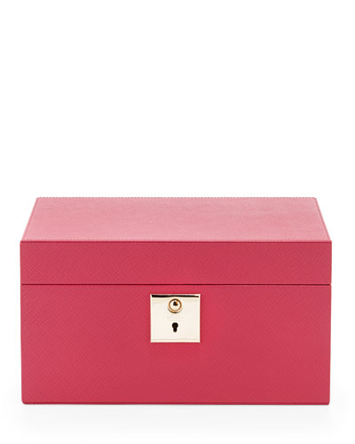 Panama Single-Tray Jewelry Box, Fuchsia