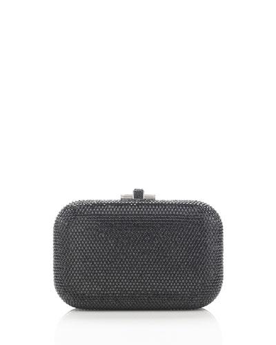 Crystal Slide-Lock Clutch Bag, Silver/Jet