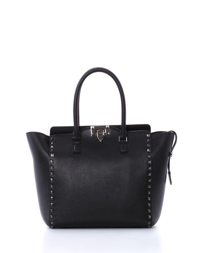 Rockstud Pagoda Shopper Tote Bag, Black