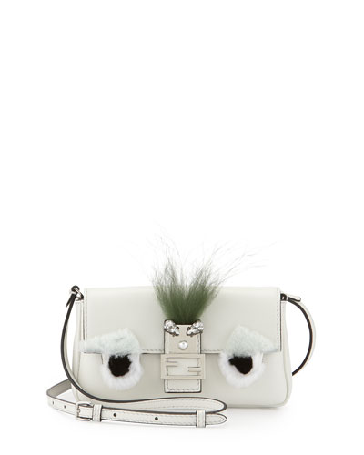 Baguette Micro Bag Bugs Crossbody Bag, White/Black
