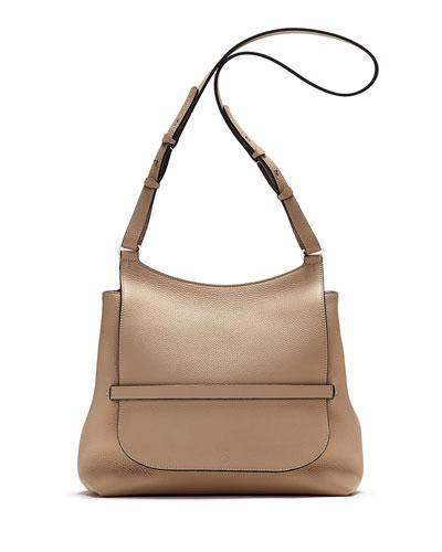 Sideby Pebbled Calfskin Crossbody Bag, Beige