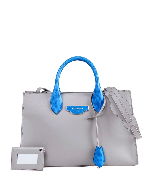 AJ XS Bicolor Tote Bag, White/Blue