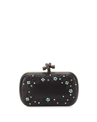 Knot-Clasp Jeweled Clutch Bag