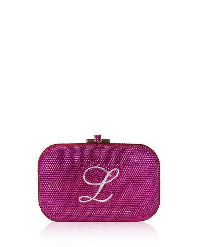 Monogram Crystal Slide-Lock Clutch Bag, Fuchsia