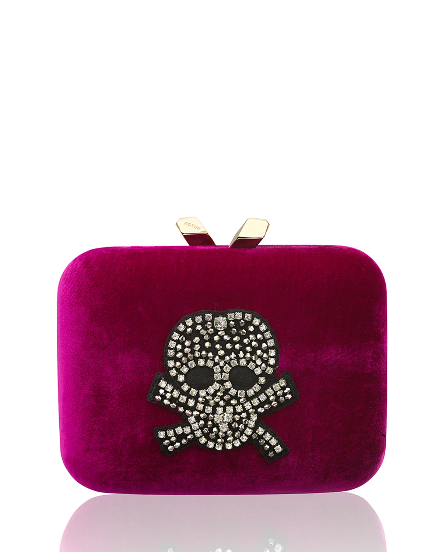 Marley Large Velvet Rhinestone-Skull Clutch Bag, Magenta