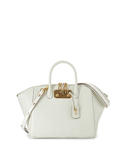 Brera32 Ostrich-Leg Satchel Bag, White