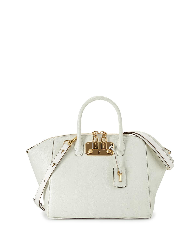 Brera32 Ostrich-Leg Satchel Bag, White