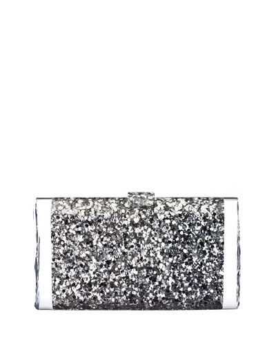 Lara Backlit Acrylic Clutch Bag, Silver