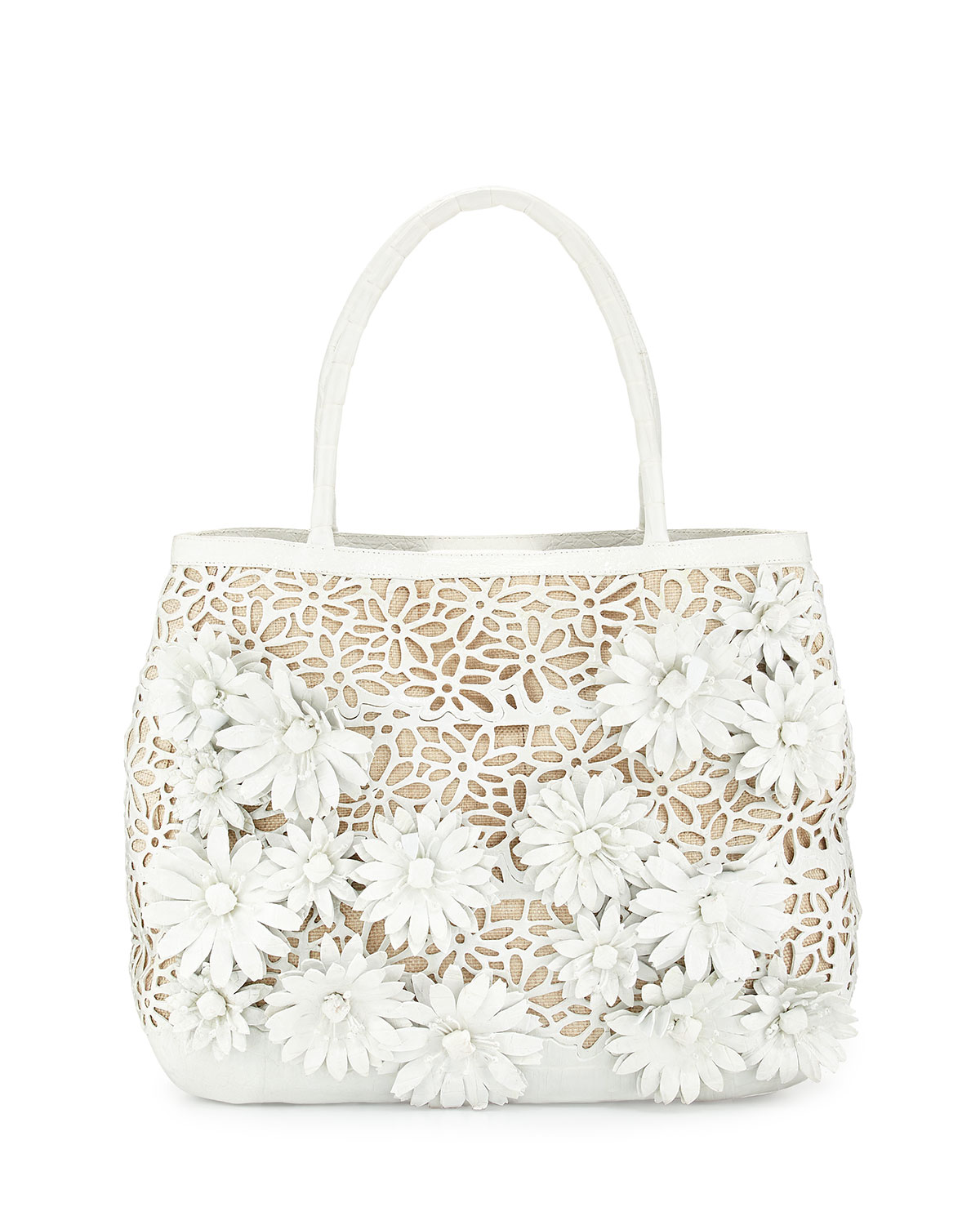 Panama Floral-Cutout Straw Basket Tote Bag, White