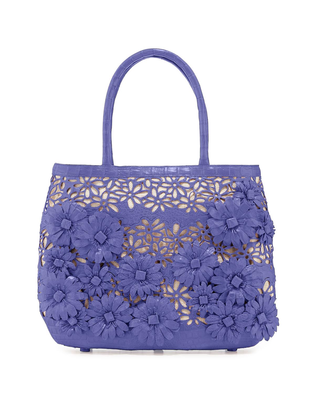 Panama Floral-Cutout Straw Basket Tote Bag, Periwinkle Matte