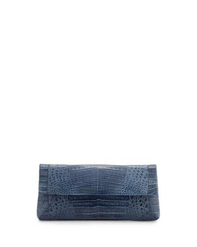 Gotham Crocodile Flap Clutch Bag, Denim Matte