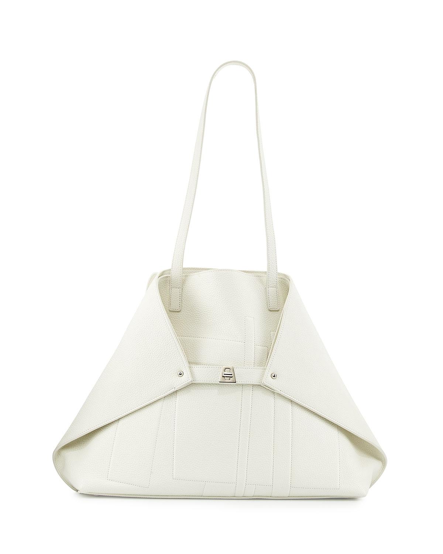 Akris Medium Cervo Leather Shoulder Bag, White