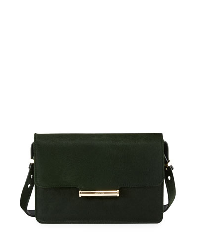 Diane Calf-Hair Crossbody Saddle Bag, Emerald