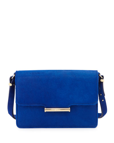 Diane Calf-Hair Crossbody Saddle Bag, Blue