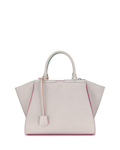 3 Jours Leather Satchel Bag, Gray Multi