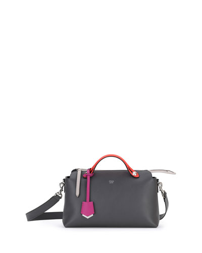 By The Way Small Tricolor Satchel Bag, Dark Gray