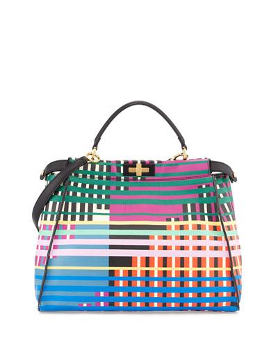 Peekaboo Large Printed Satchel Bag, Multicolor