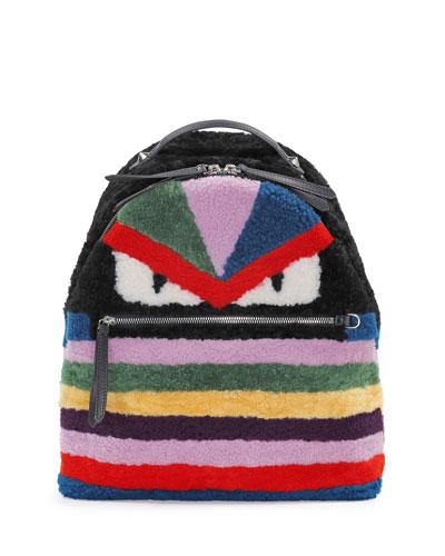 Monster Shearling Fur Backpack, Multicolor