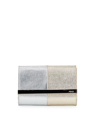 Rush Mini Metallic Clutch Bag, Silver/Champagne