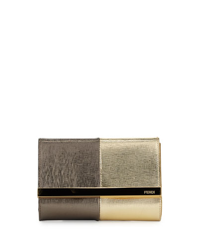 Rush Mini Metallic Clutch Bag, Gold/Gray