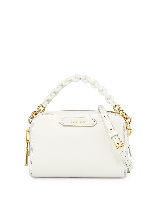 Chain-Strap Small Crossbody Bag, White
