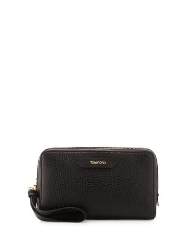 Zip-Top Calfskin Clutch Bag, Black
