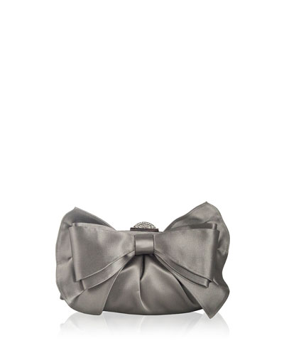 Madison Satin Bow Clutch Bag, Silver Platinum