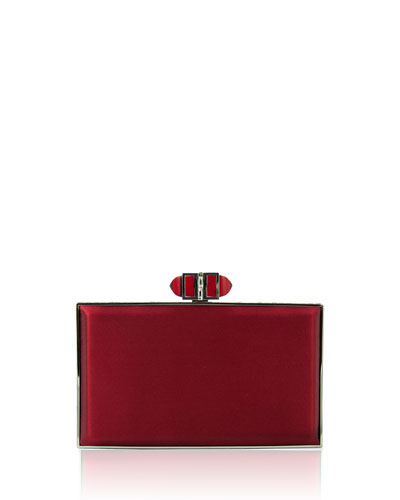 Satin Coffered Rectangle Clutch Bag, Crimson