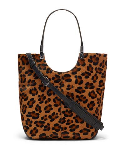 Cynnie Animal-Print Calf Hair Shopper Bag, Cognac/Black