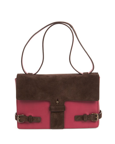 Two-Tone Suede/Leather Satchel Bag, Maroon/Chocolate