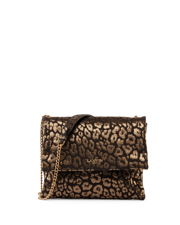 Animal-Print Sugar Sheepskin Shoulder Bag, Gold